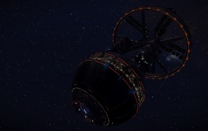 Daimler Settlement: A Bernal Sphere Starport orbiting very closely a really dark planet on the edge of the Coelrind system.