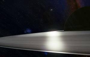 River of light across the rings of Hyperion 10