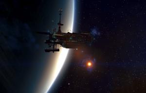 A twilight view of a platform in orbit.