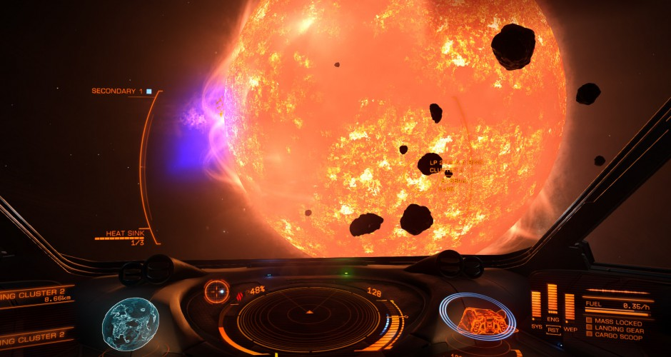 Strange exploration in LP27-9 ... This sun is not just yellow, but also purple. Not sure why, since my basic scanner did not reveal anything. Time to upgrade.
