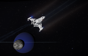 An Imperial Clipper in flight in the Asellus Primus system.