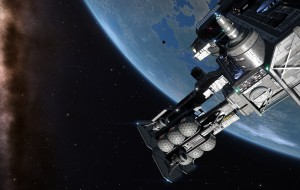 A space platform orbiting the planet