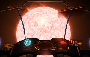 A view of the primary star of the Pemede system from the cockpit of an Asp.