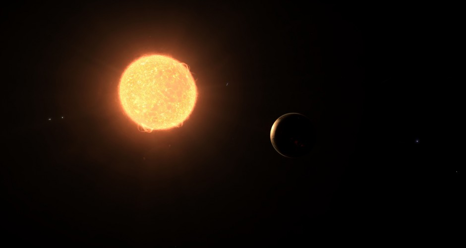 A small planet basking in the glow of his sun.