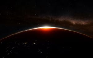 The beautiful sunrise on Earth