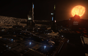 A Federal Corvette watches over a mining town as the sun sets.