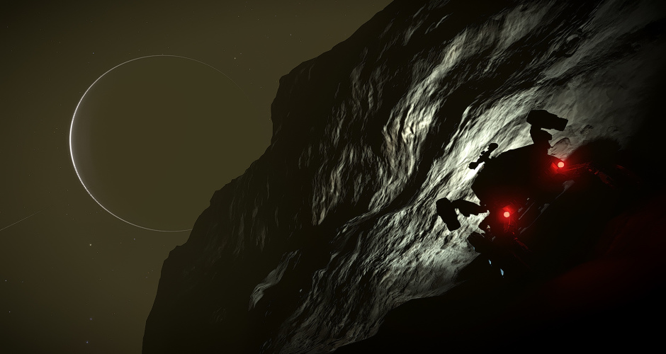 Exploring on a rock.