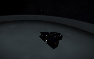 Skimming craters filled with misty haze. On the dark side.