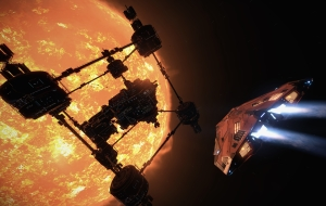 A Cobra MKIII speeds towards a giant military complex orbiting a star