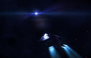 A Condor fighter approaching a White Dwarf