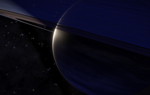 the blue glow from the stellar remnant gives this gas giant some nice shades.