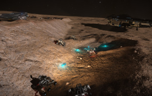 A gaggle of CMDR's messes around with glowing artifacts at the Alien Ruins