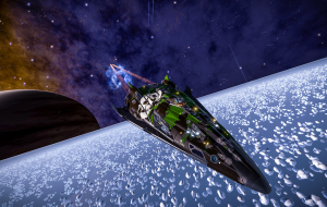 Just recharging shields after some combat, which left it's marks on the ship.