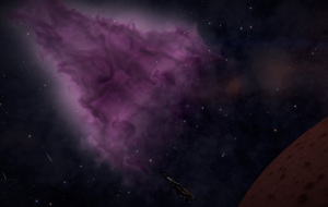 An Imperial Cutter gently rises near a nebula.