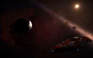 Federal Research Ship FRS Discovery at an Volcanic Lava Planet with the beautiful Backdrop of the Horse Head Nebula.
