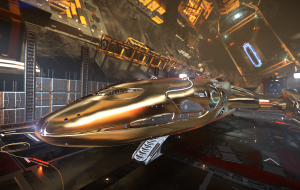 Because of the station lighting, the ship looks golden. Paint - chrome.