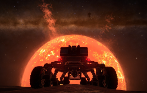 Betelgeuse rising over the horizon.