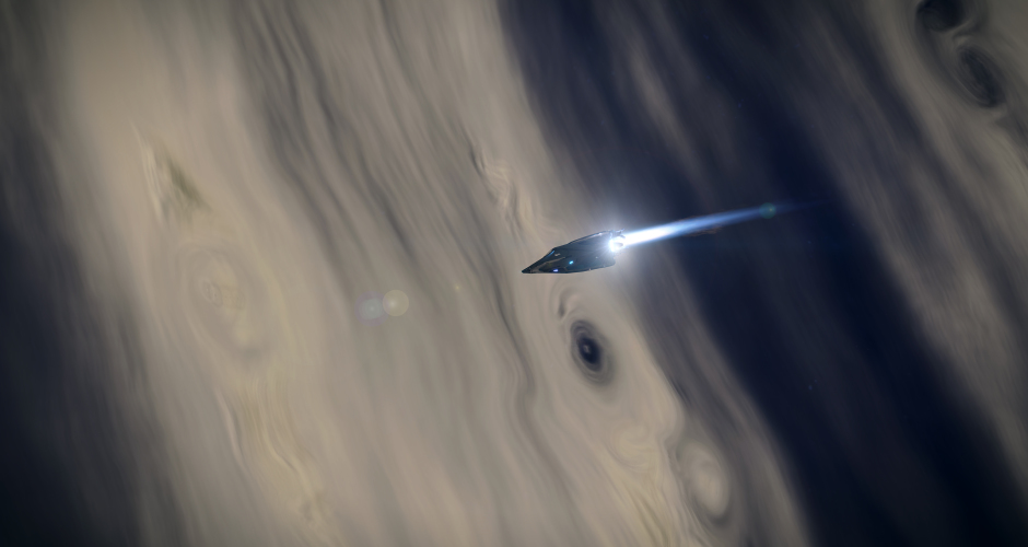 A calm journey above a turbulent gas giant.