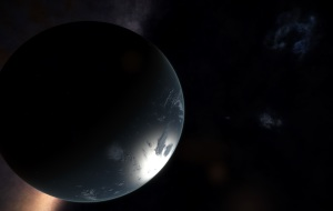 On my first exploration to the edge of the galaxy, when i found two water worlds orbiting each other at the edge.