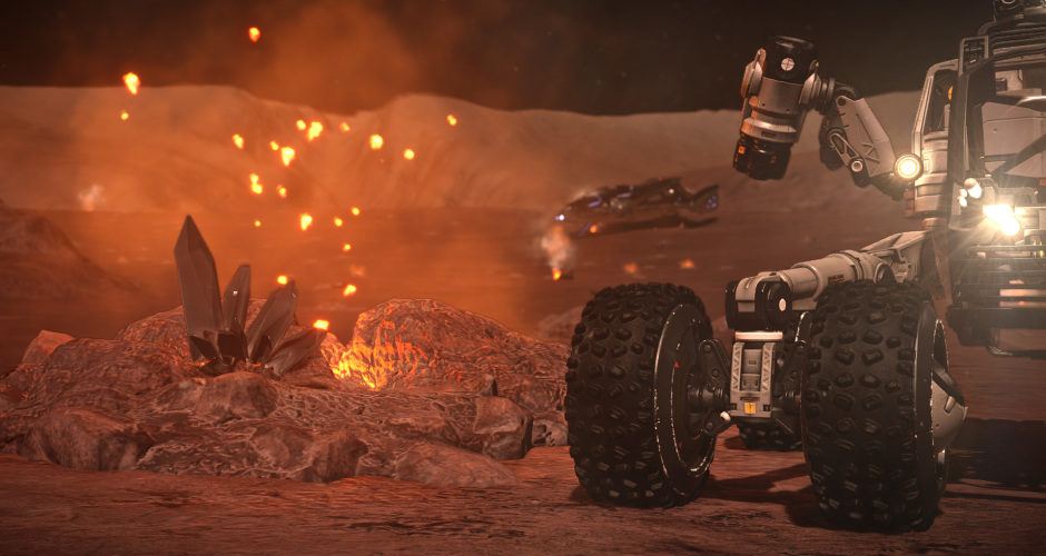 An SRV rolls up to valuable materials near a magma geyser.