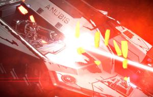 ANUBIS (a Core Dynamics Vulture) firing its burst laser and deploying chaff.