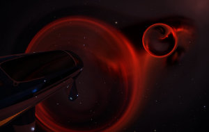 A black hole distorting the deep red of Barnard's Loop