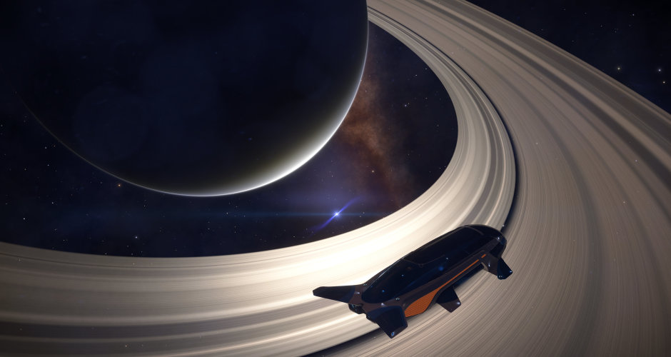 peering at a white dwarf through the rings of a nearby gas giant