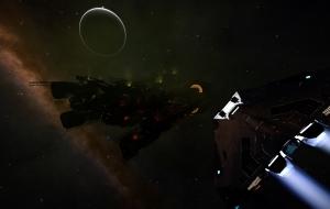 "Aquarius Class Tanker minutes after Thargoids said ""hello""."
