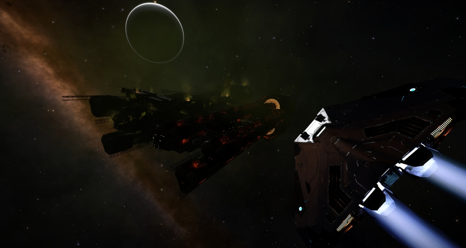 "Aquarius Class Tanker minutes after Thargoids said ""hello""."